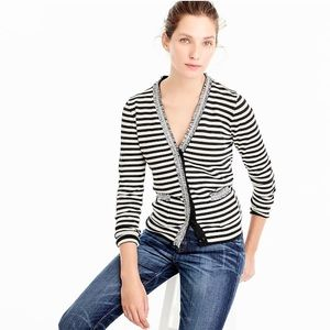 JCREW Striped Harlow Cardigan with Tweed Trim